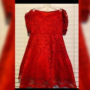 Beautiful Red Lace Off the Shoulder Formal Dress